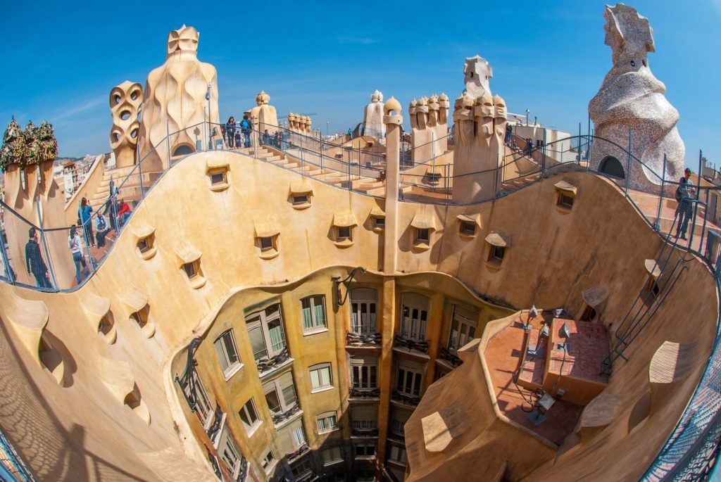 Rooftop of Casa Milà in Barcelona.