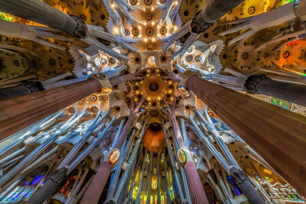 Inside ceiling of Sagrada Família