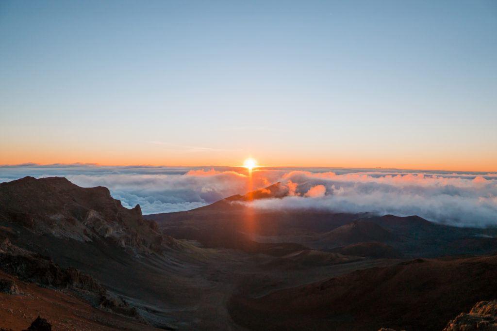Sunrise at Haleakala National Park in Maui.
