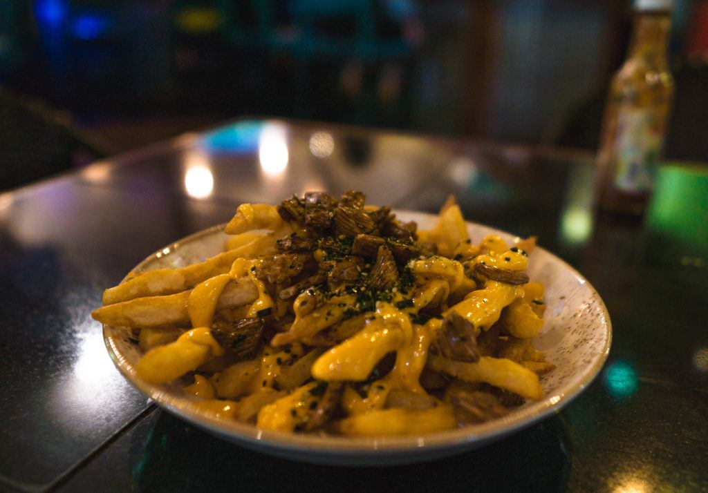 Furikake Fries with furikake, sriracha aioli, and mochi crunch at Three's Bar and Grill in Maui