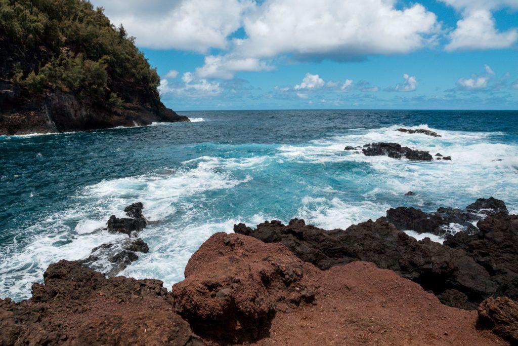 Kaihalulu Beach (Red Sand Beach) in Maui.