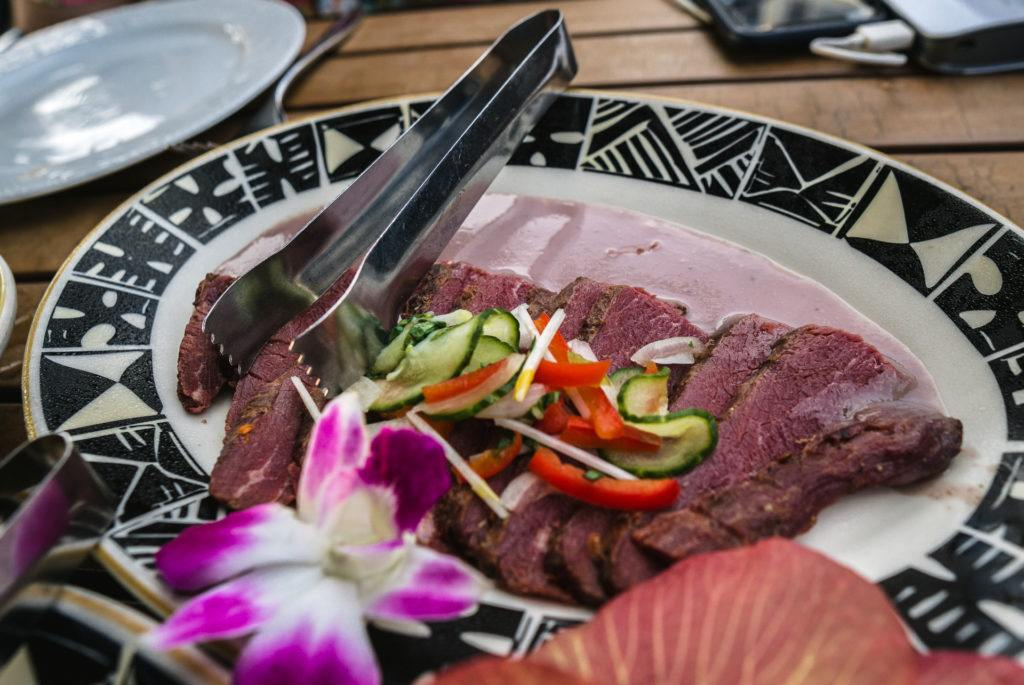 Paniolo Dried Cured Beef and Maui Poi at Feast at Lele in Maui.