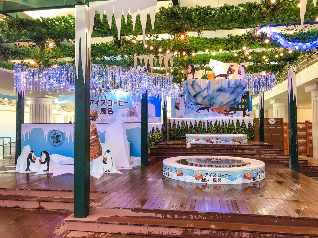 Iced coffee baths at Yunessun spa in Hakone, Japan