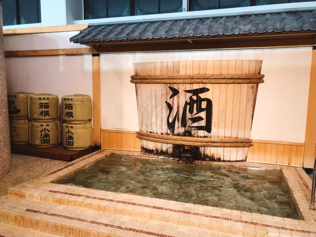 Sake bath at Yunessun spa in Hakone, Japan.
