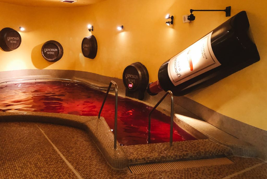 Wine bath at Yunessun in Hakone, Japan.