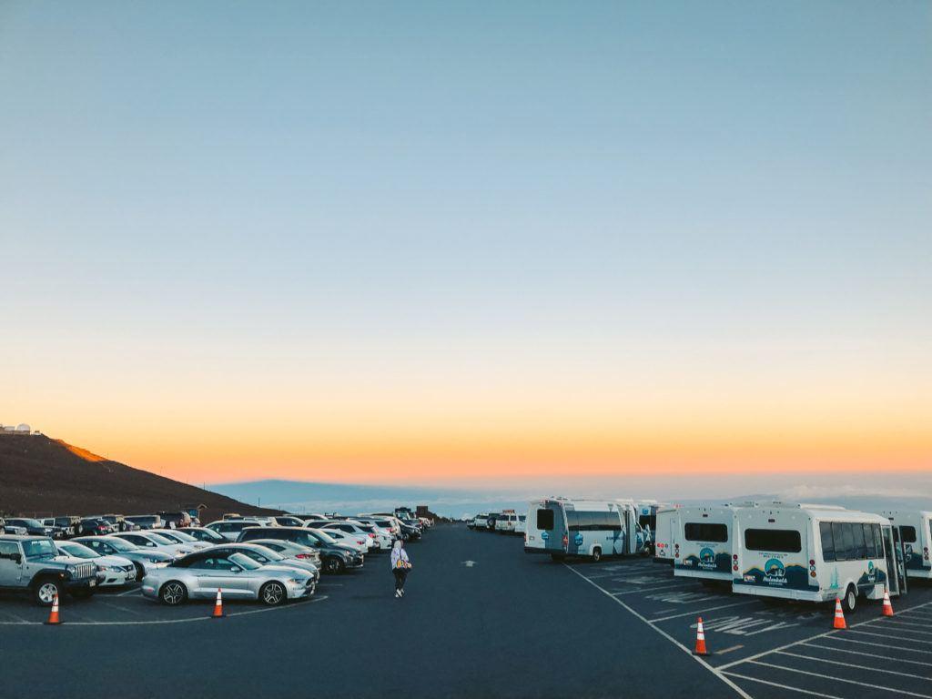 Parking lot at the top of Haleakala sunrise in Maui.