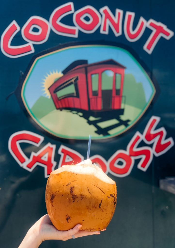 Fresh coconut from Coconut Caboose in Maui.