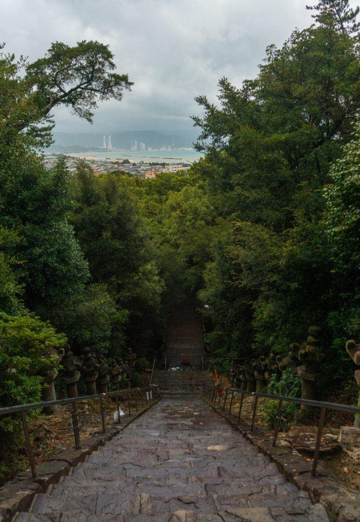 Top of the stairs at Kishu Toshogu Shrine in Wakayama, Japan.