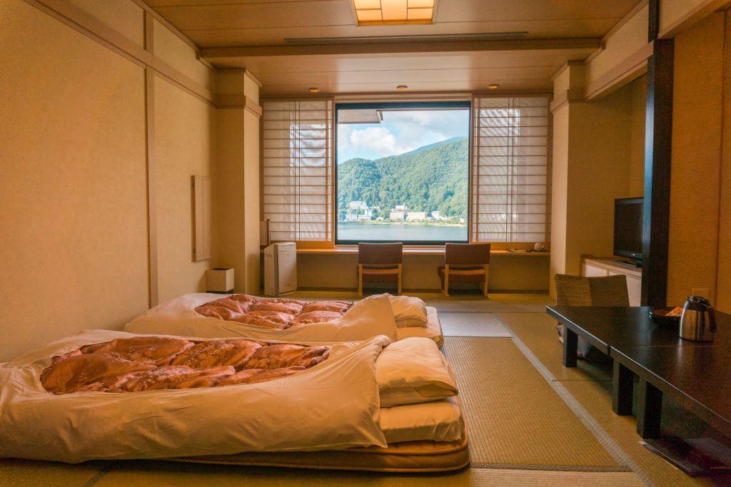 Hotel room at Konansou in the Fuji Five Lakes area.