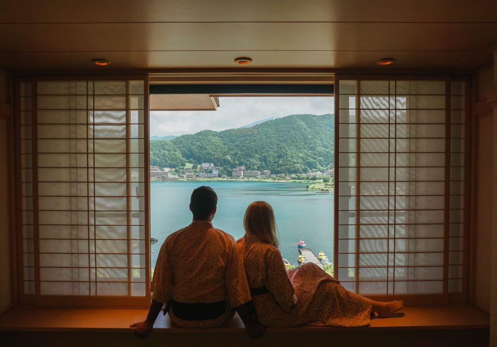 Lake view from Konansou, luxury ryokan in the Fuji Five Lakes area.