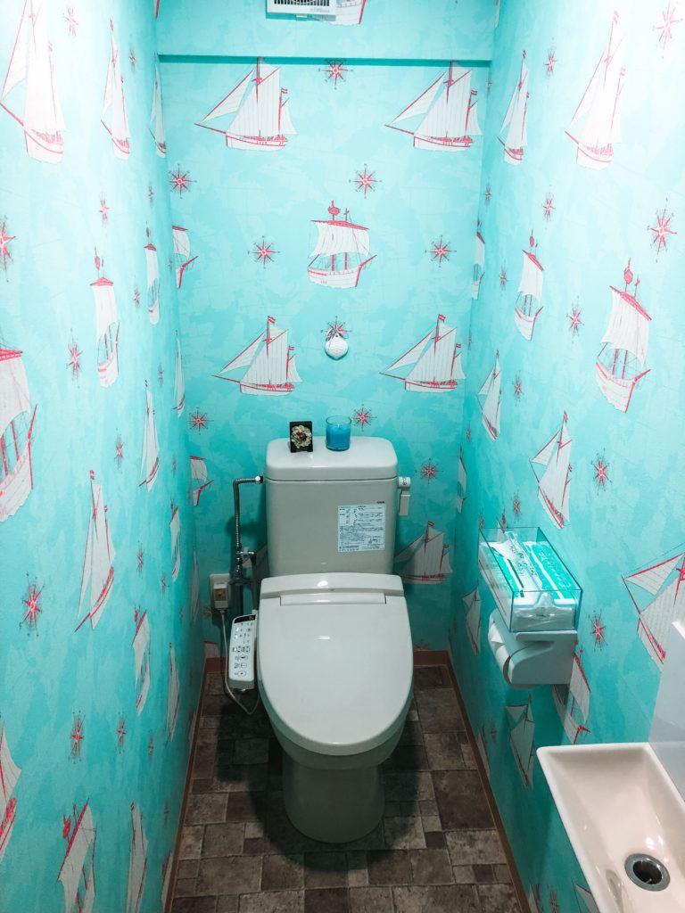 Bathroom at the Sea Breeze 1987 in Nagato, Japan