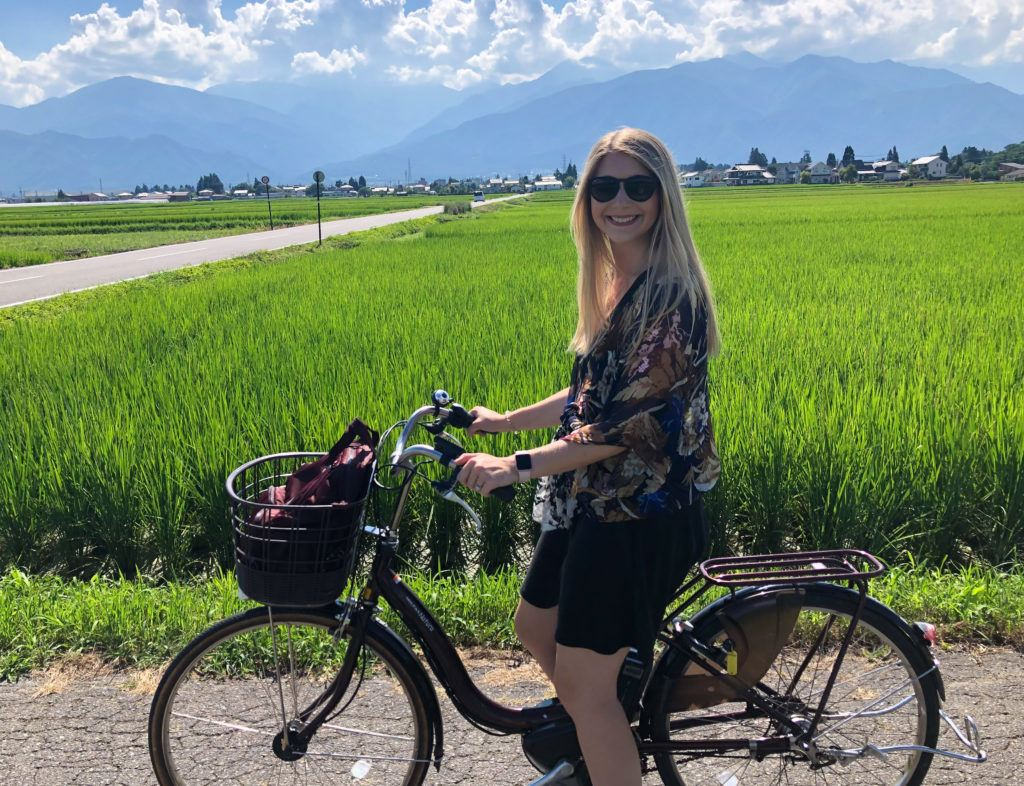 Biking to Daio Wasabi Farm in Japan.