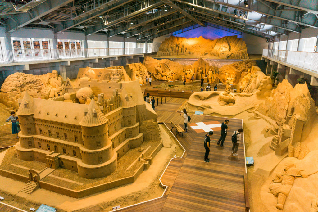 Sand sculptures at the Sand Museum in Tottori