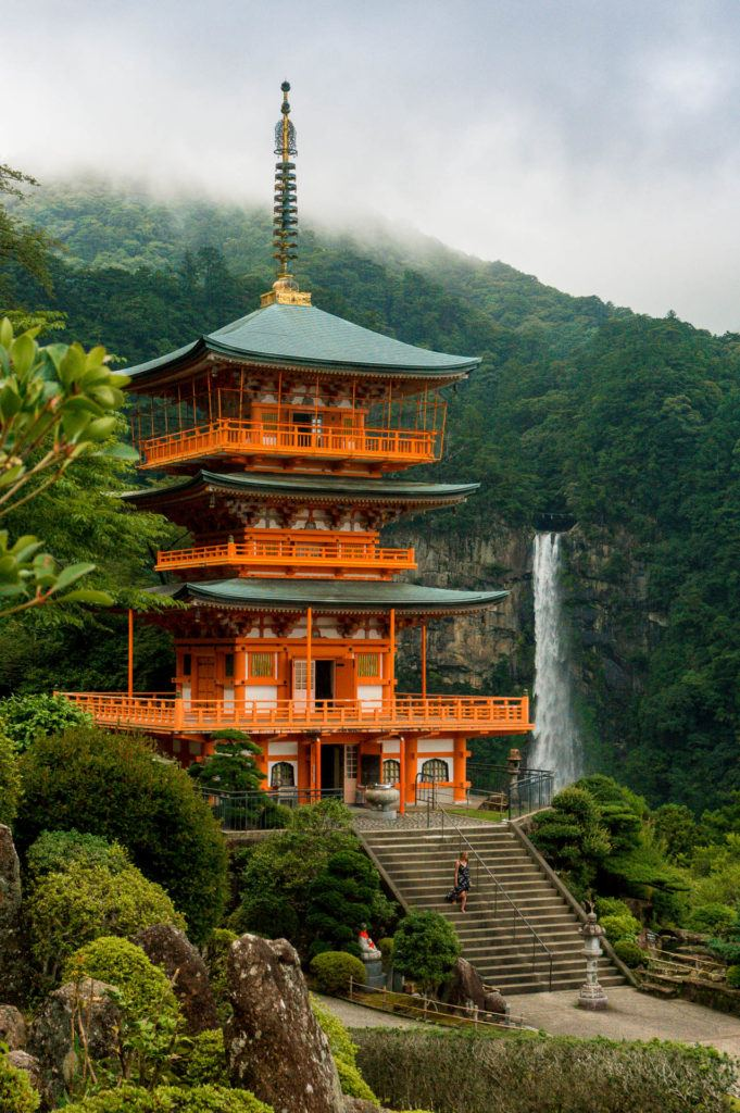 Nachi Falls by Seiganto-ji Temple on the Kumano Kodo Trail