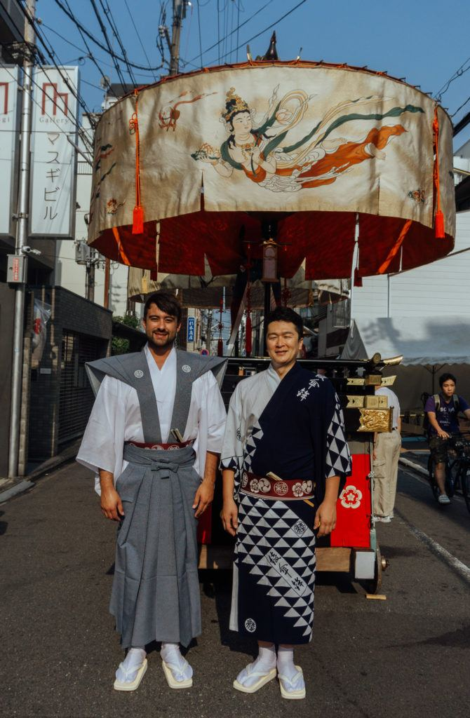 Men dressed in costume at Gion Matsuri in Kyoto