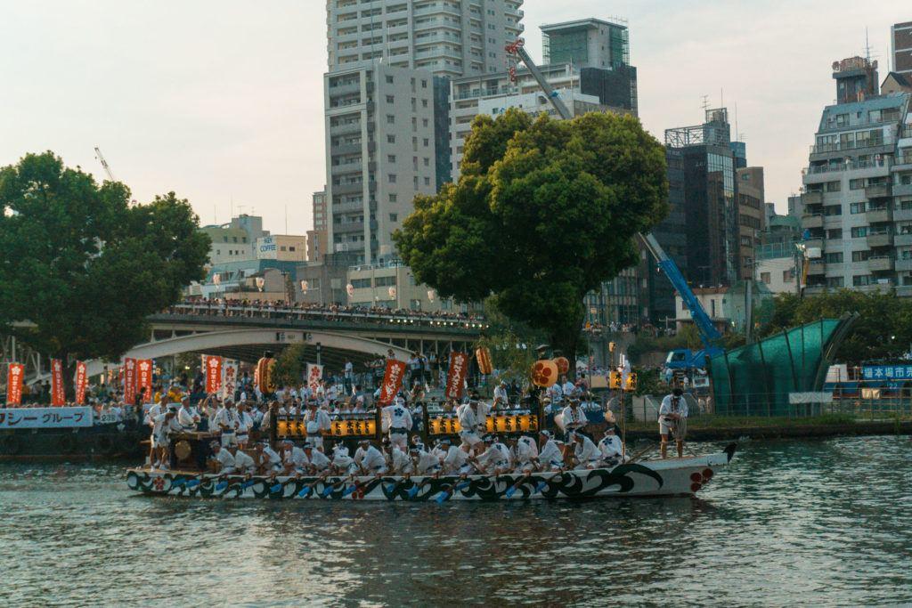 Boats on the river at Tenjin Matsuri