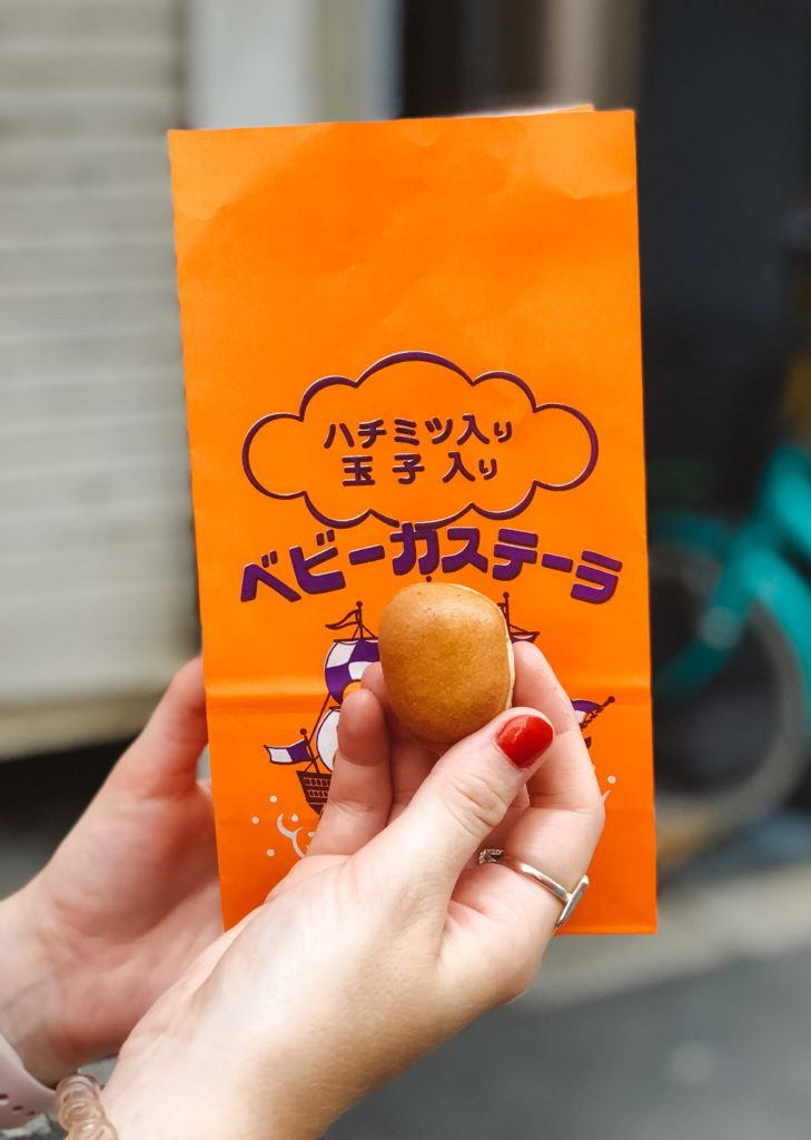 Baby castella from a street food stand at a summer festival in Japan