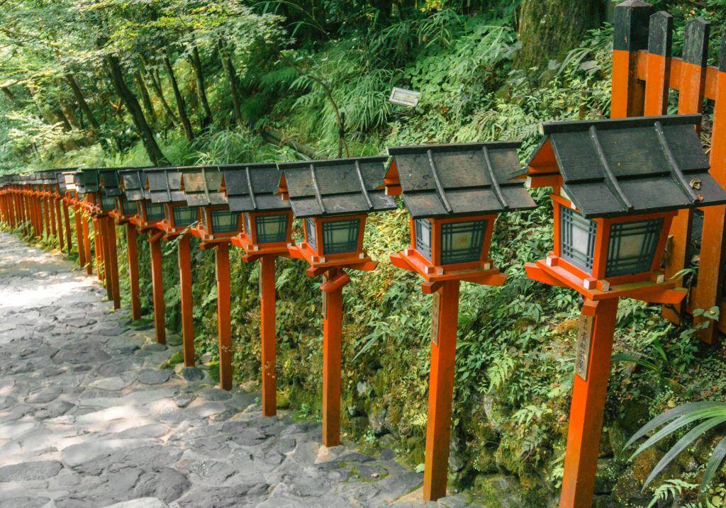 Rows of red lanterns at Kifune Shrine.