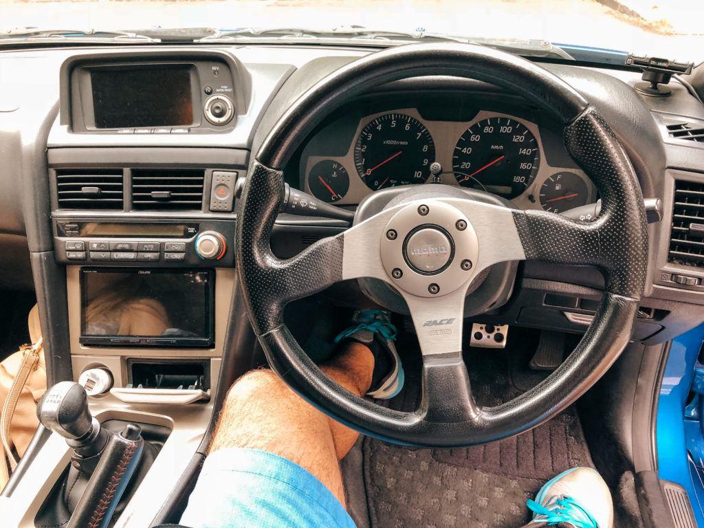 Inside of Nissan GTR rental