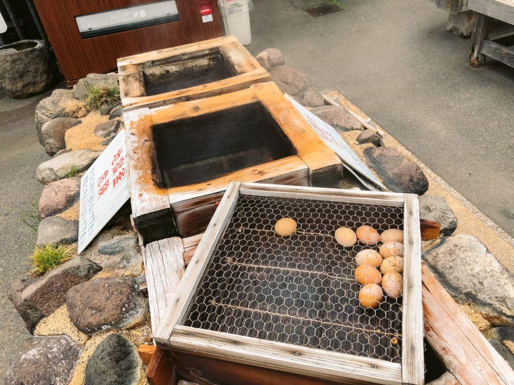 Eggs steamed by hot springs in Beppu, Japan